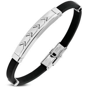 Jewelry - Black Rubber Box Clasp Lock Bracelet